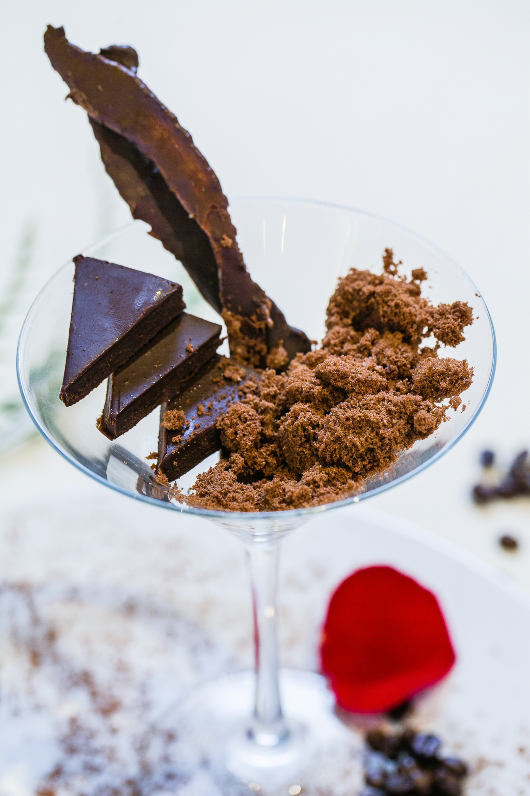 chocolate dessert in a martini glass
