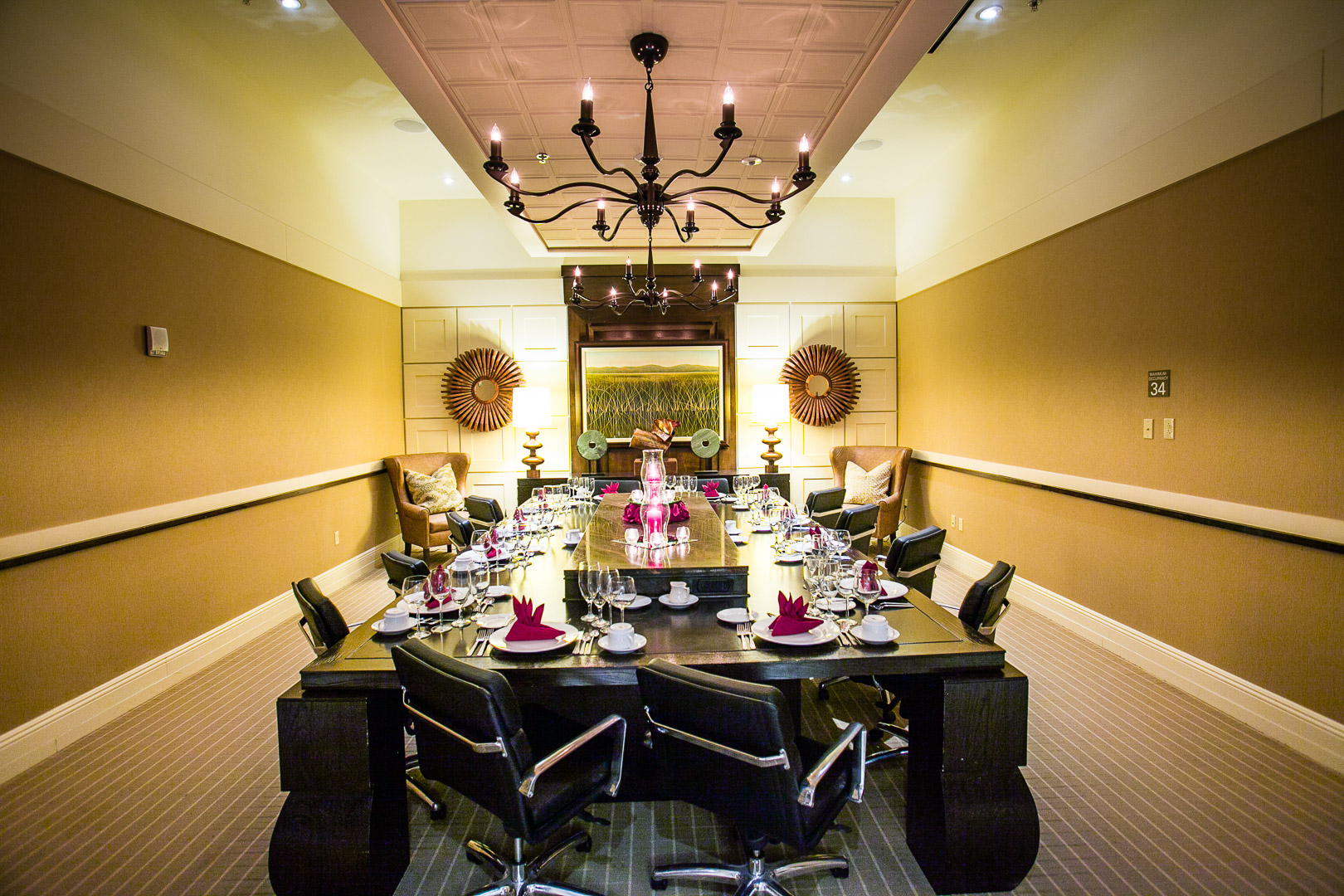 large meeting style table set up for a dining experience
