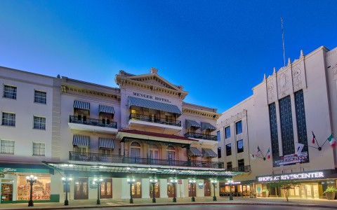 outside evening view of the historic menger hotel