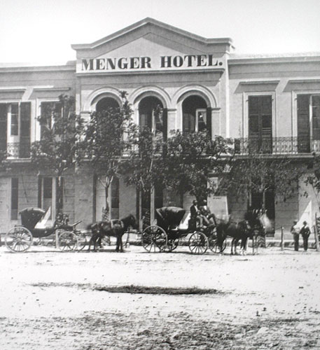 Black and white historic photo of the Menger Hotel