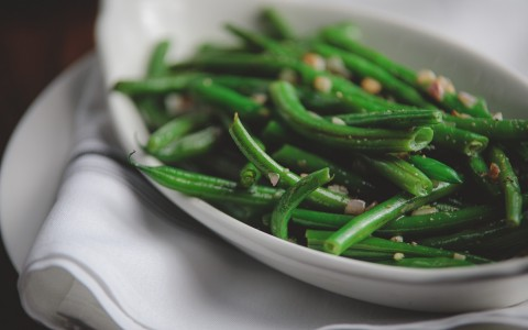 Bowl of green beans and nuts