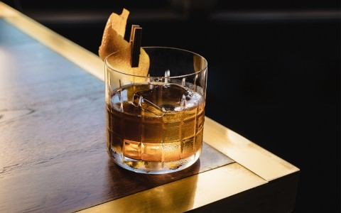 brown cocktail sitting on table
