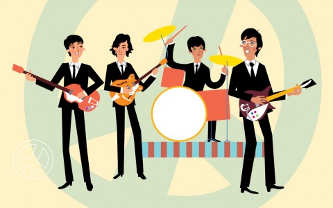 cartoon of he beatles band