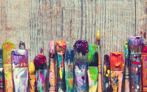 colorful paint brushes