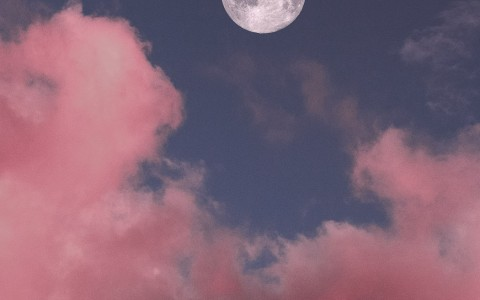 pink clouds and moon