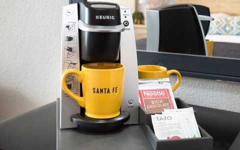 keurig coffee maker and santa fe mug