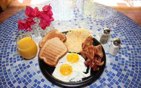 plate with assorted breakfast foods