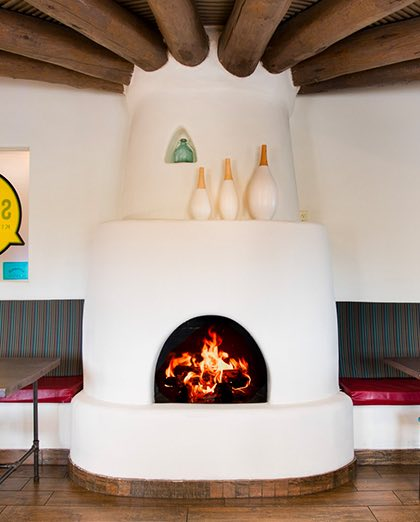 interior fireplace at sage hotel lobby