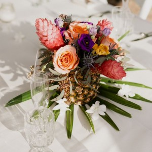 wedding centerpiece with bright flowers