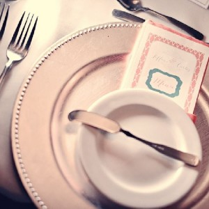 a place setting for a wedding reception