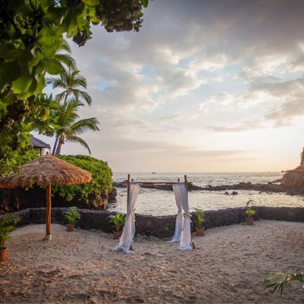 private lagoon venue with small altar on sand