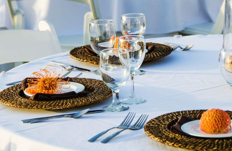 place settings on a banquet table