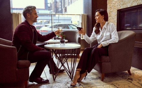 couple drinking wine and talking