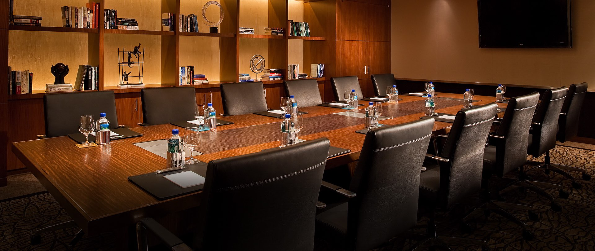 Conference room prepared for meeting