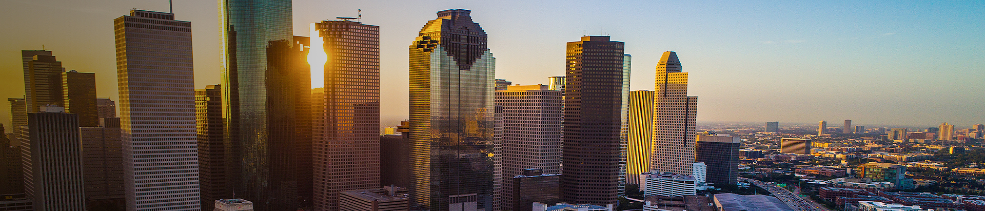 the houston skyline at dusk