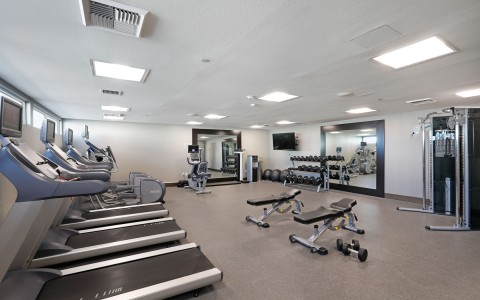 the fitness center inside the hotel with machines and weights