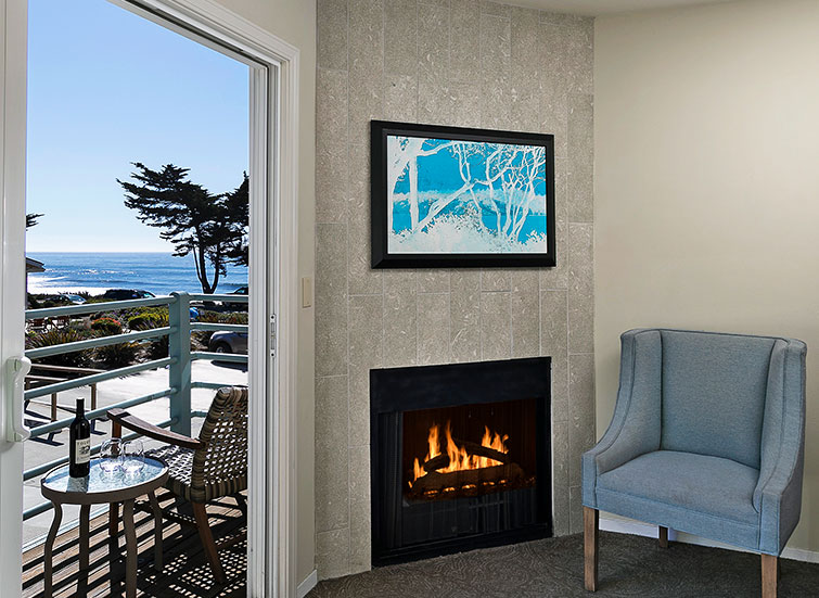 Fireplace next to balcony access