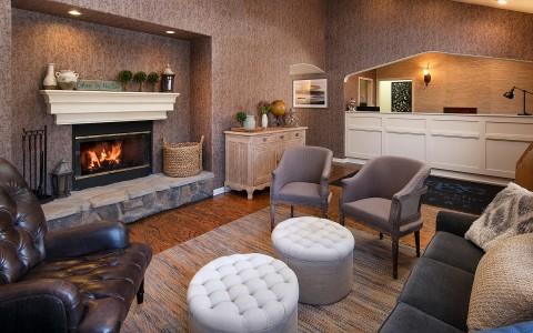 living room in a guest suite with fireplace
