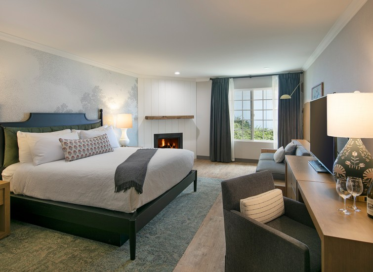 hotel bedroom with fireplace