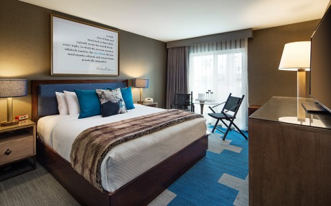 Hotel room with blue and wood design details