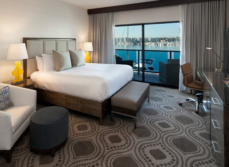 guest room with marina views