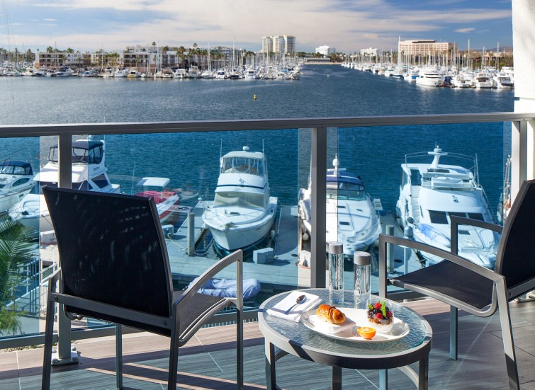 balcony with marina views