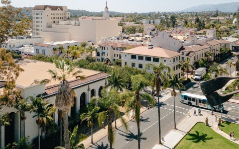 overhead view of the street in Santa Barbara