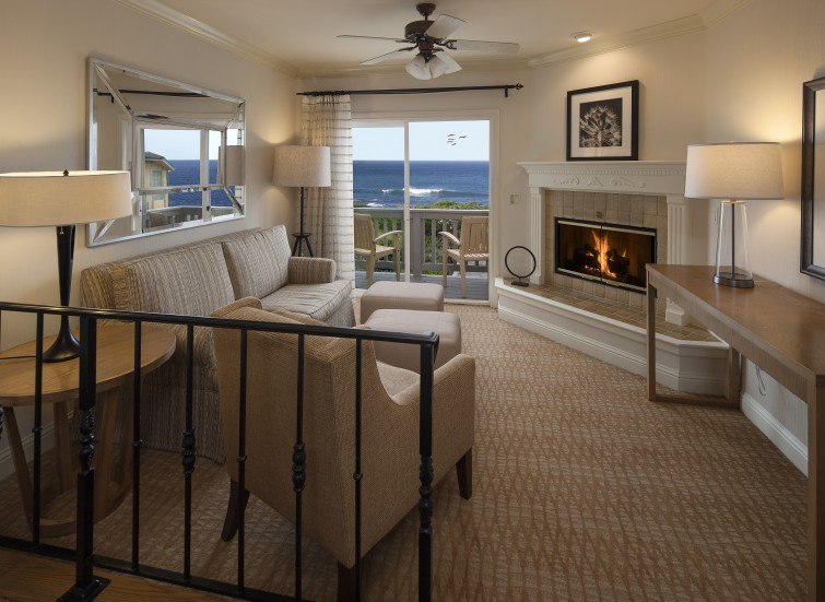 hotel room with fireplace and view of ocean