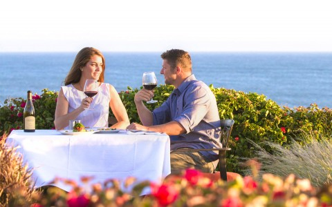 couple drinking wine in front of ocean