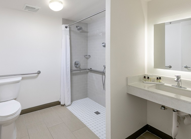 ADA bathroom with shower and multiple handles