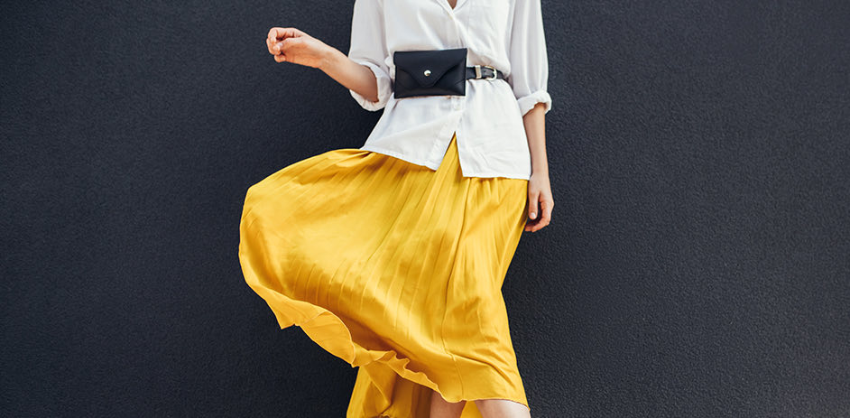 woman's bright yellow skirt