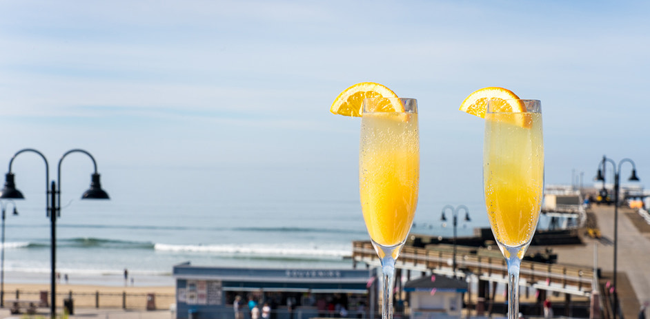 mimosa with view of pier