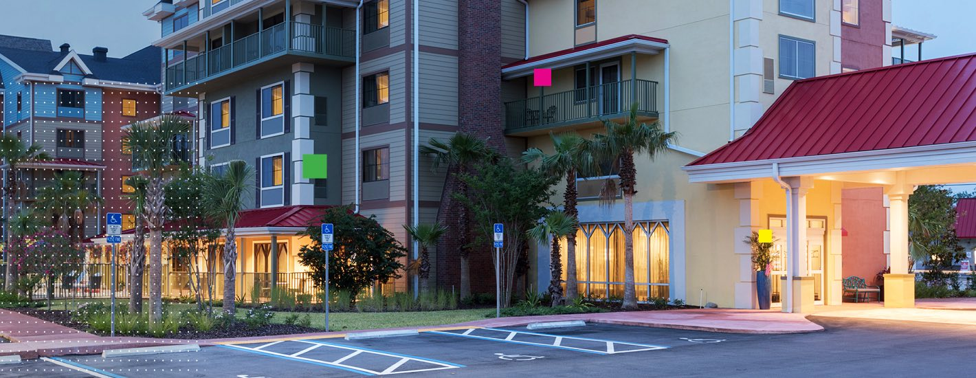 Tryp St Augustine exterior at night