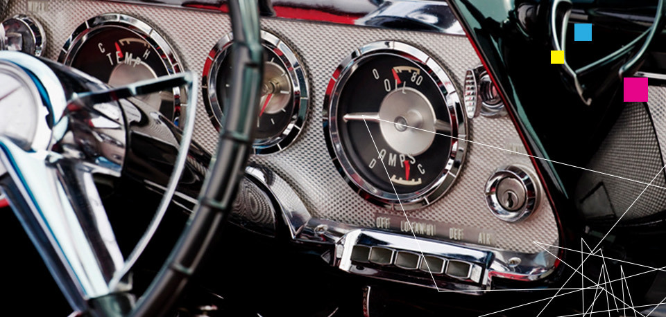 a close up of a classic car