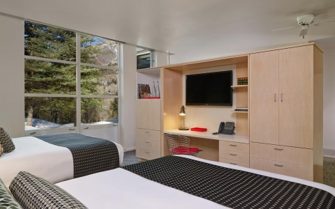 double beds with tv entertainment