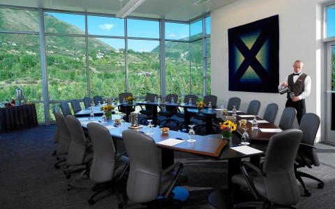 meetings table overlooking a mountain view