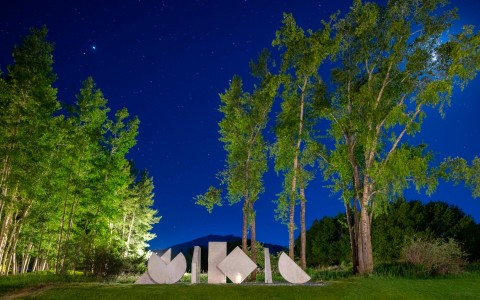 night time shot of art sculpture and green trees