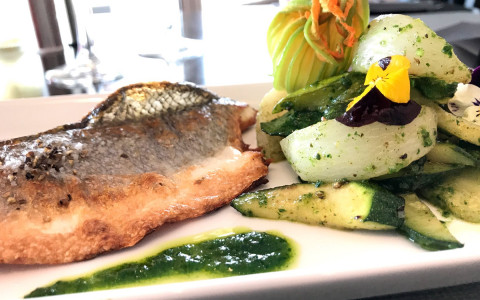 plate with fish, vegetables, and green sauce from hotels restaurant