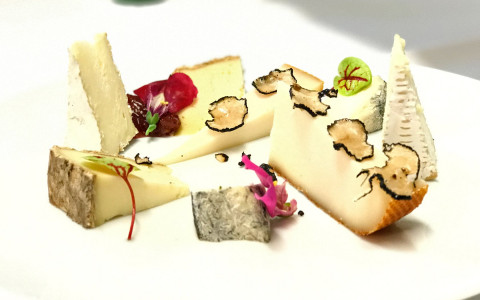 plate of different cheese slices with truffle and purple flower decoration