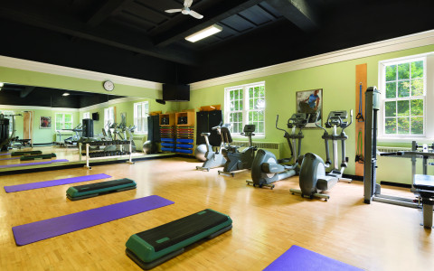purple mats and exercise tools in a gym