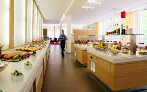 buffet of food in dining area