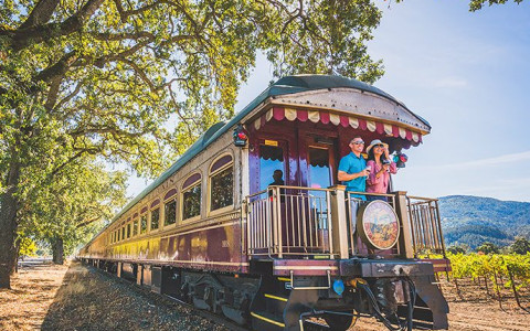 couple on a train as it rides through the napa vineyard