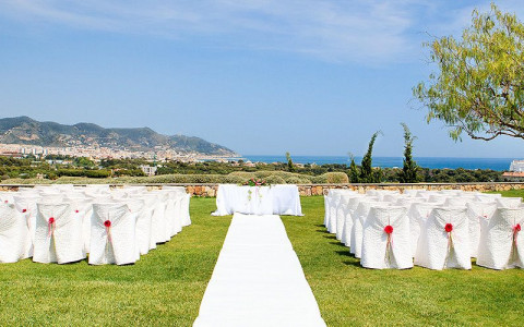 Wedding on an open field overlooking the coast line
