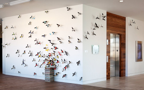 white wall with colorful bird mural