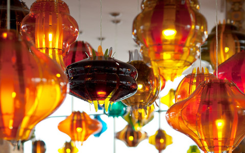 colorful lanterns hanging from ceiling