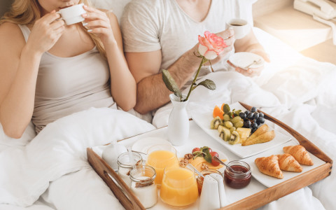 couple having breakfast in day