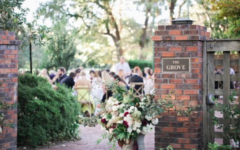 The Grove entrance decorated for a wedding reception