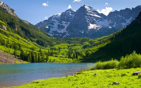 a photo of the mountains and greenery in aspen colorado