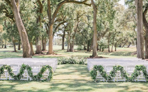 Wedding ceremony setup located out on the beautiful Grove