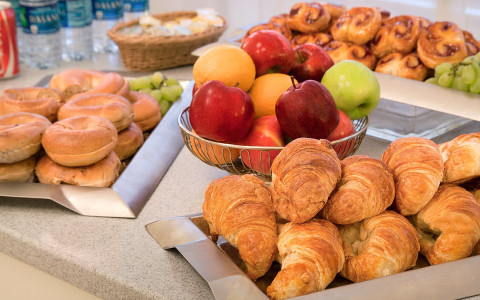 assortment of breakfast foods